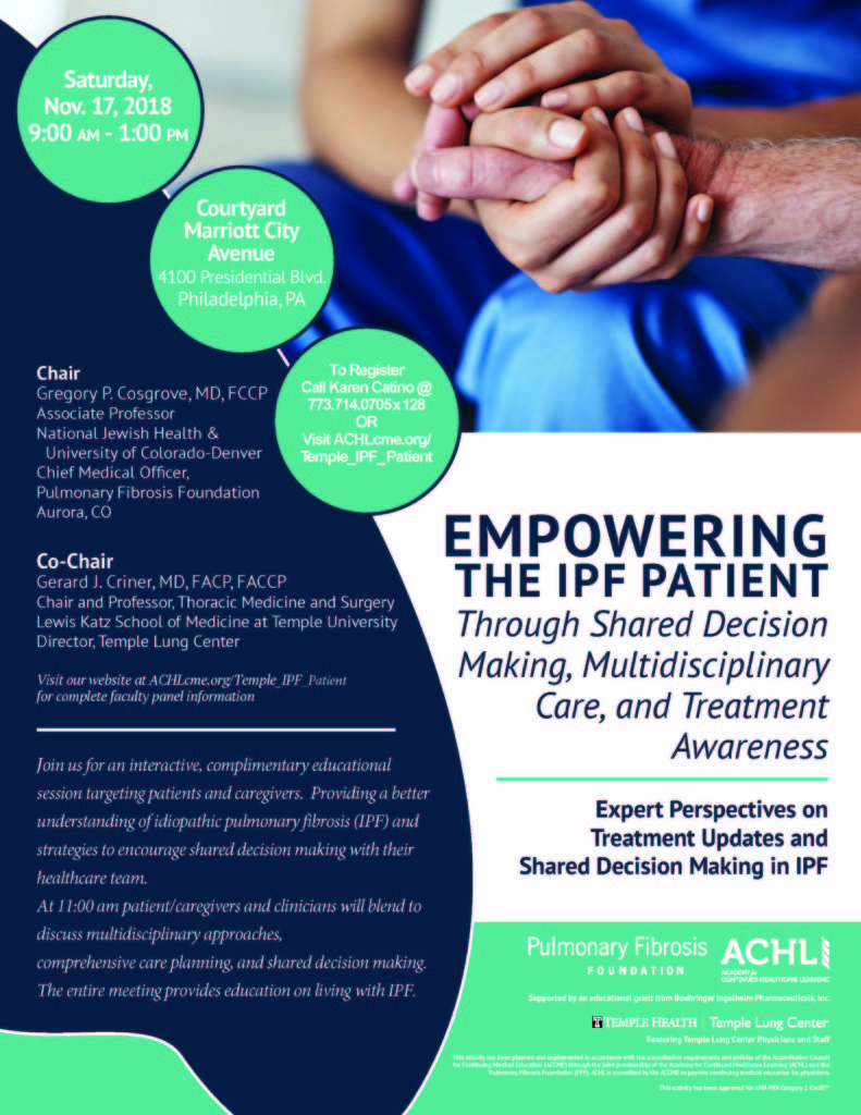 NEWS FLASH: Education Event/Empowering The IPF Patient